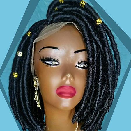 Short bob faux locs dreadlock wig on black manikin model