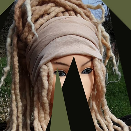 Light skinned blonde fake dreadlocks wig hair with headband