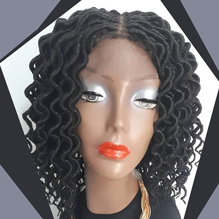 Kinky curly black dreadlocks on wig with center part.